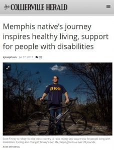Collierville Herald wrote an article about Scott Finney's bike ride
